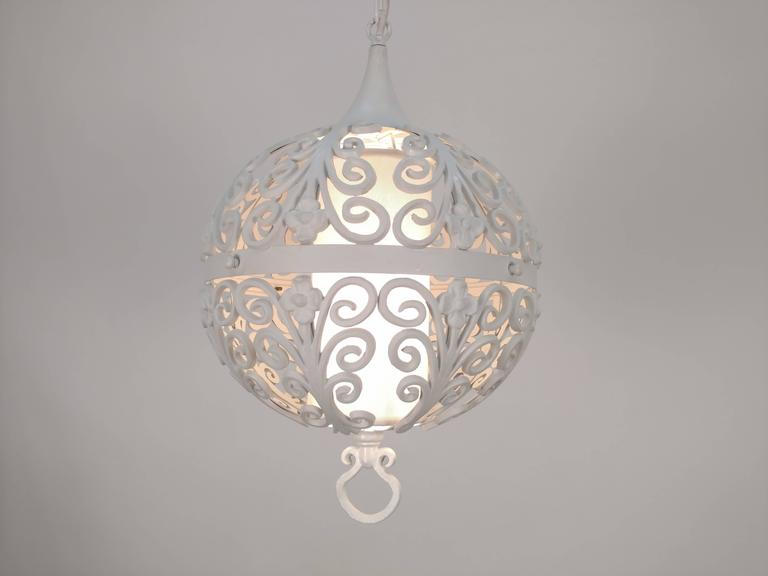 American White Round Ornate Chandelier Pendant For Sale