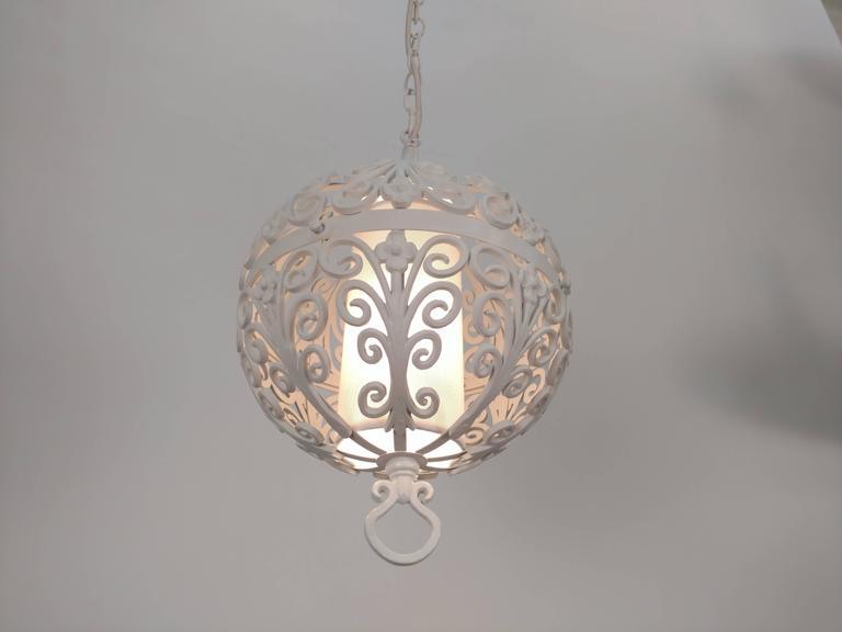 White Round Ornate Chandelier Pendant For Sale 3