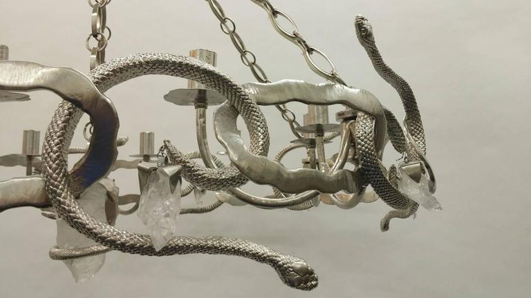 American Cast Bronze and Rock Crystal Serpent Chandelier For Sale
