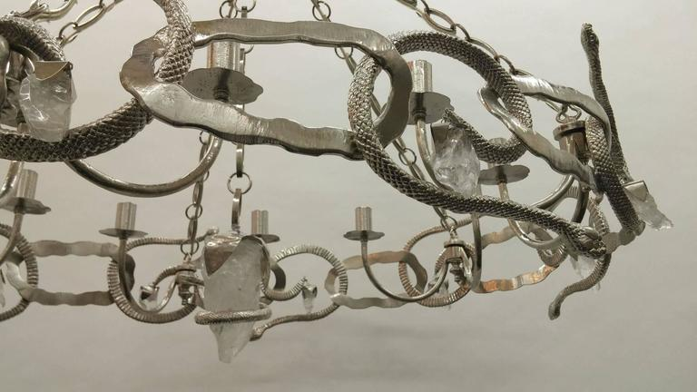 Hand-Carved Cast Bronze and Rock Crystal Serpent Chandelier For Sale
