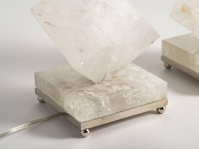 American Rock Crystal Quartz Cube Lamps - Eon Collection For Sale