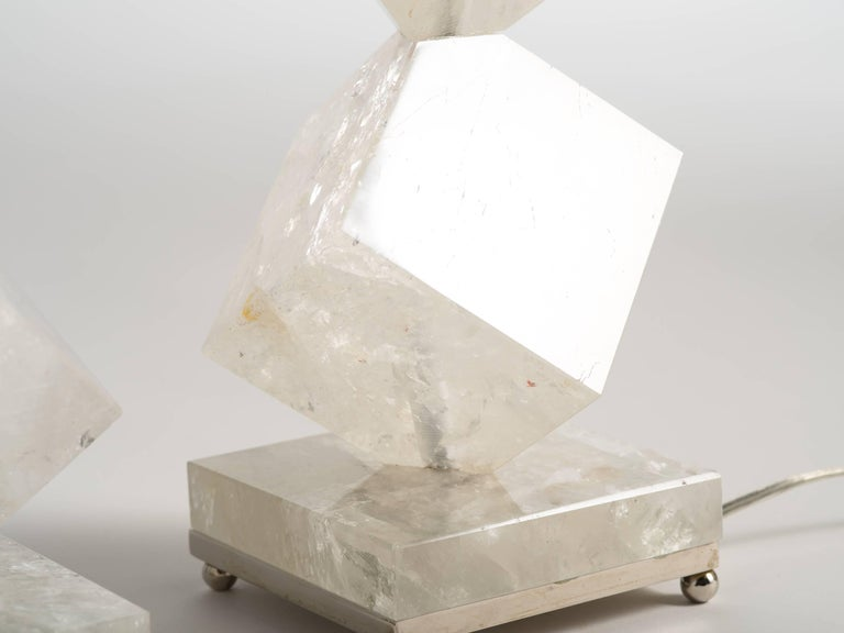 Rock Crystal Quartz Cube Lamps - Eon Collection In Excellent Condition For Sale In Tarrytown, NY