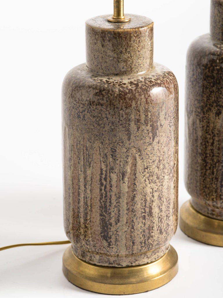 American Mid-Century Modern Brown Glaze Ceramic Lamps For Sale