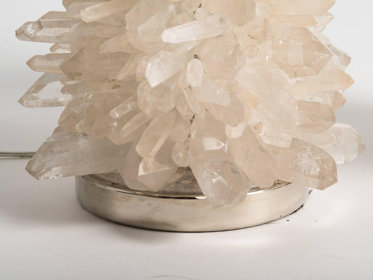 Rock Crystal Cluster Quartz Lamps In Excellent Condition For Sale In Tarrytown, NY