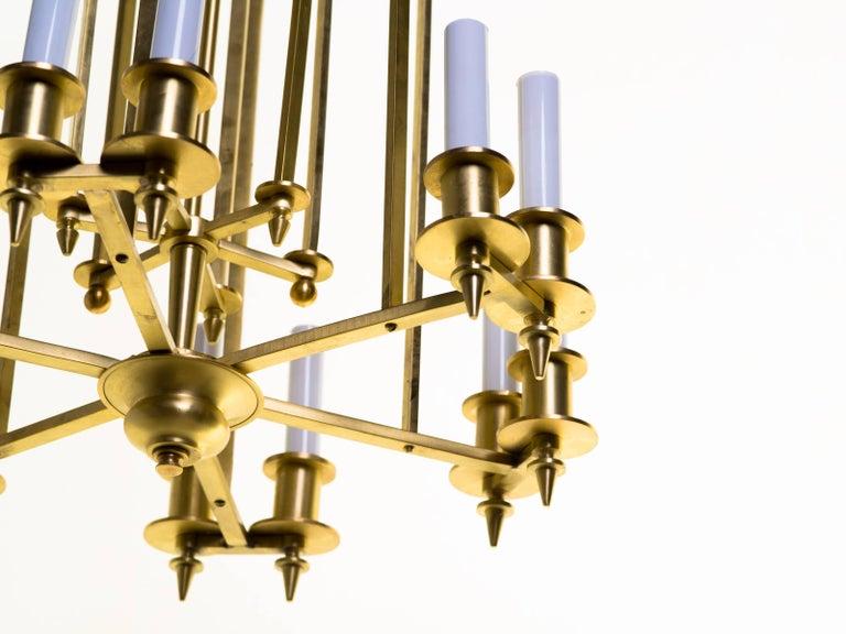 Twelve-Light Brass Skyscraper Chandelier In Good Condition For Sale In Tarrytown, NY