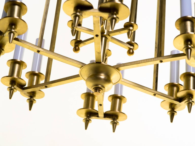 Mid-20th Century Twelve-Light Brass Skyscraper Chandelier For Sale