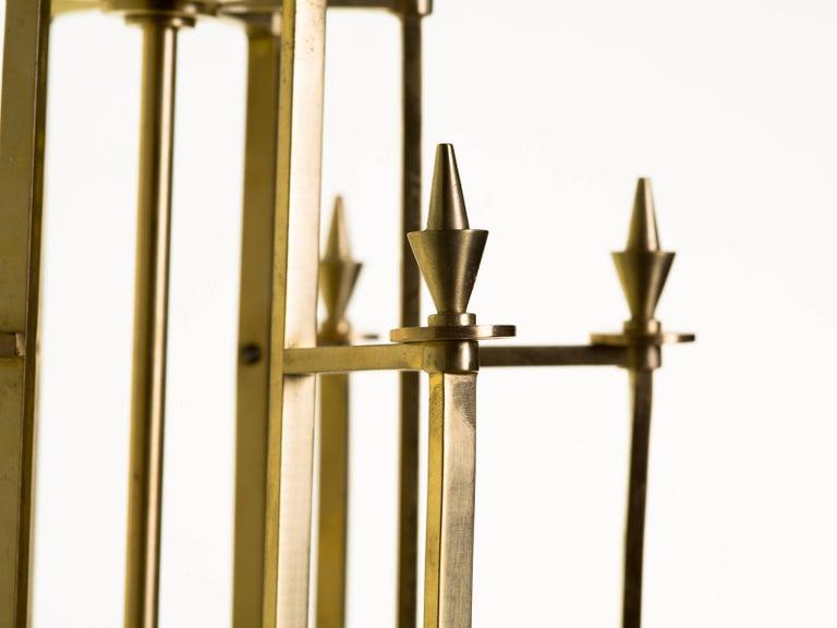 Twelve-Light Brass Skyscraper Chandelier For Sale 1