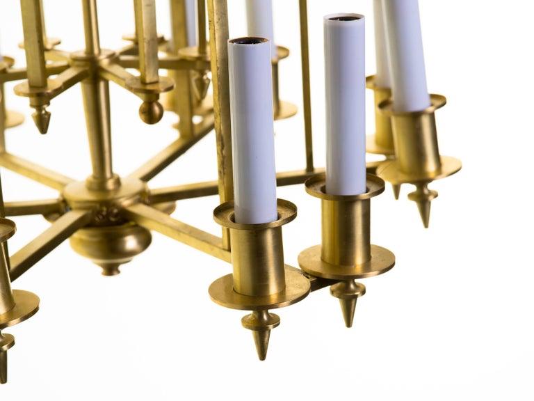 Twelve-Light Brass Skyscraper Chandelier For Sale 3