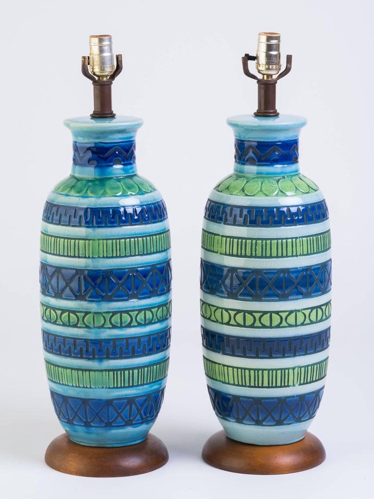 Pair of blue Italian ceramic table lamps.