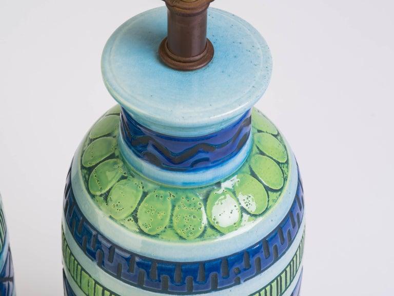 Mid-20th Century Pair of Blue Italian Ceramic Table Lamps
