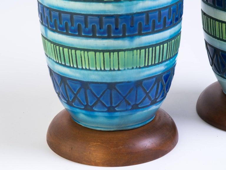 Pair of Blue Italian Ceramic Table Lamps 1