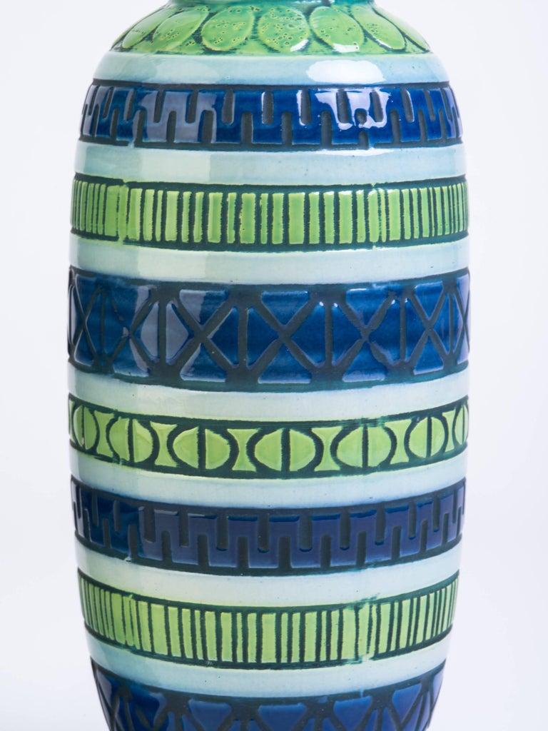 Pair of Blue Italian Ceramic Table Lamps 2