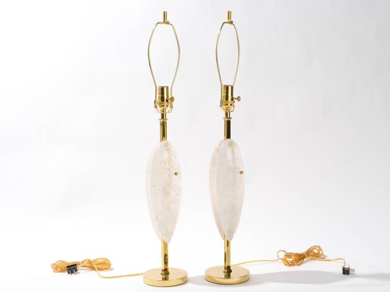 American Pair of Rock Crystal Quartz Lamps, Eon Collection For Sale