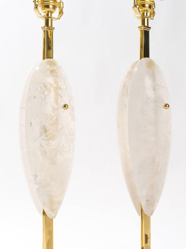 Hand-Crafted Pair of Rock Crystal Quartz Lamps, Eon Collection For Sale