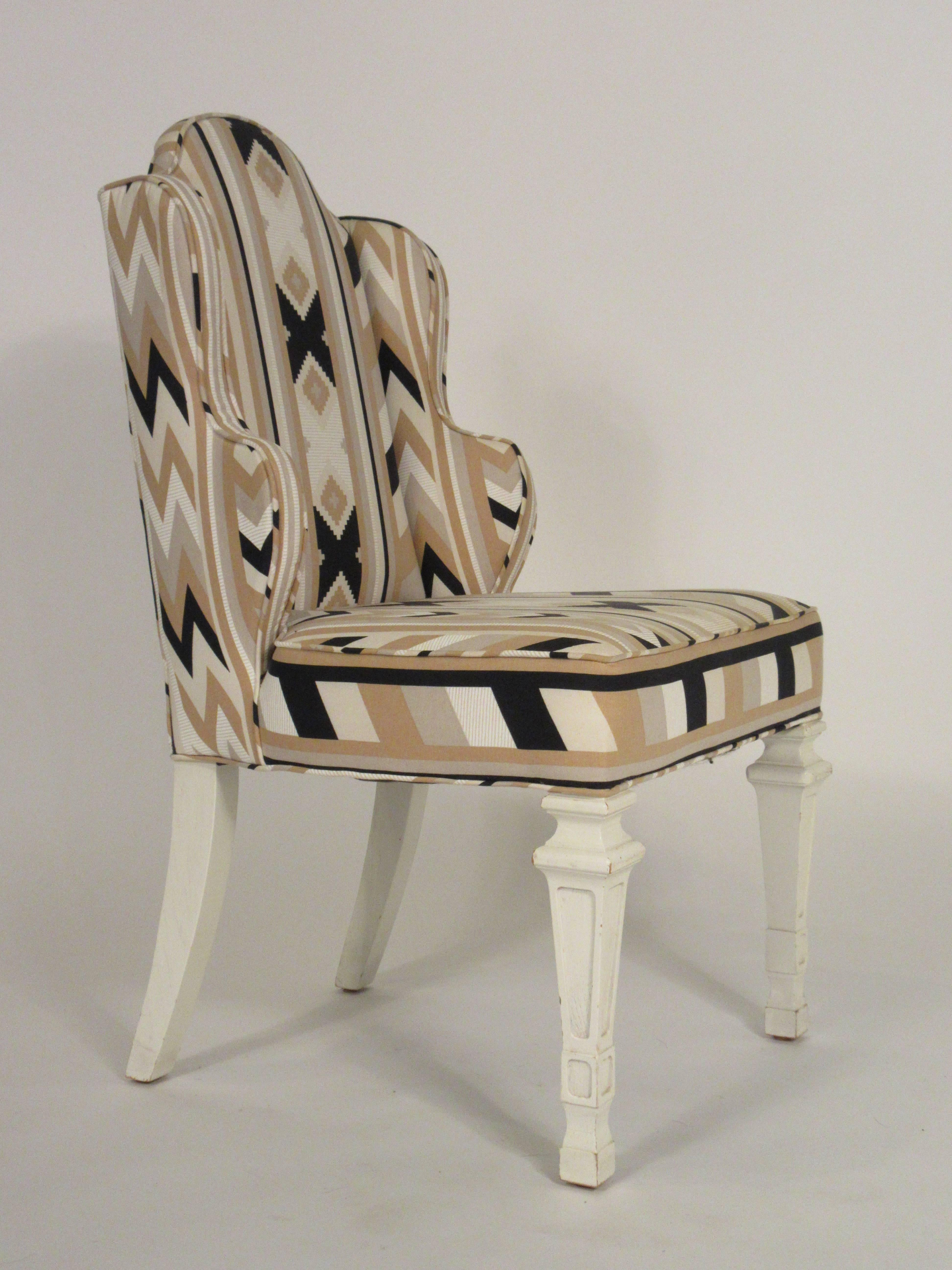 Captivating Pair Of 1960s Whimsical Petite Wing Back Chairs In Good Condition For Sale  In Tarrytown,