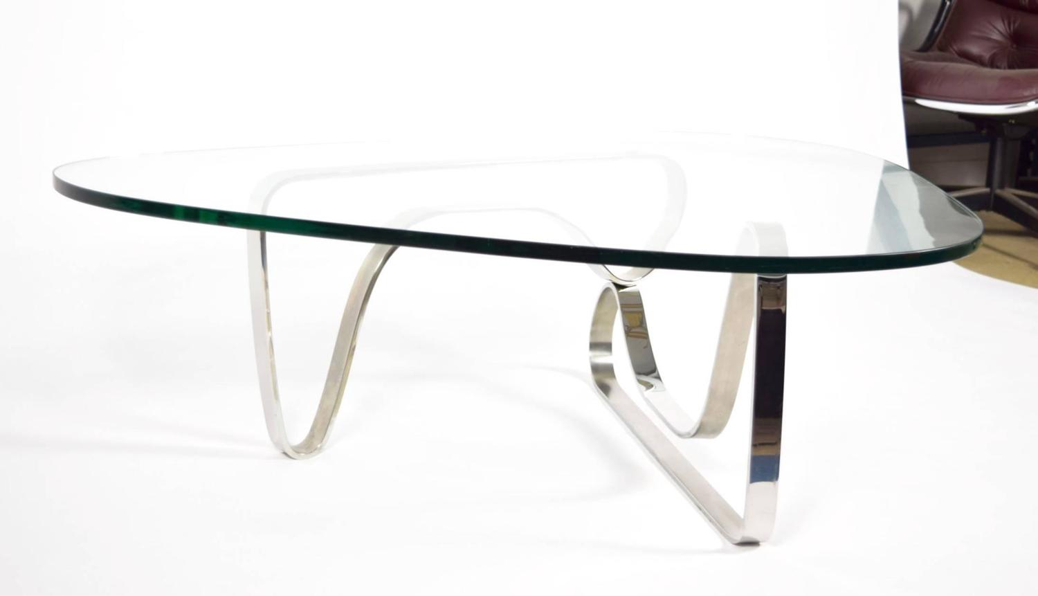 Noguchi Style Coffee Table With Stainless Steel Base For Sale At 1stdibs