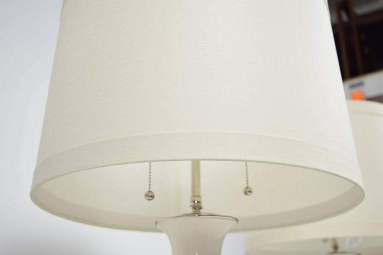 Pair of Christopher Spitzmiller Lamps in White with Silver Leaf Bases 3