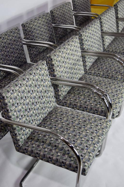 Mid-Century Modern Set of Ten Tubular Brno Chairs by Knoll For Sale