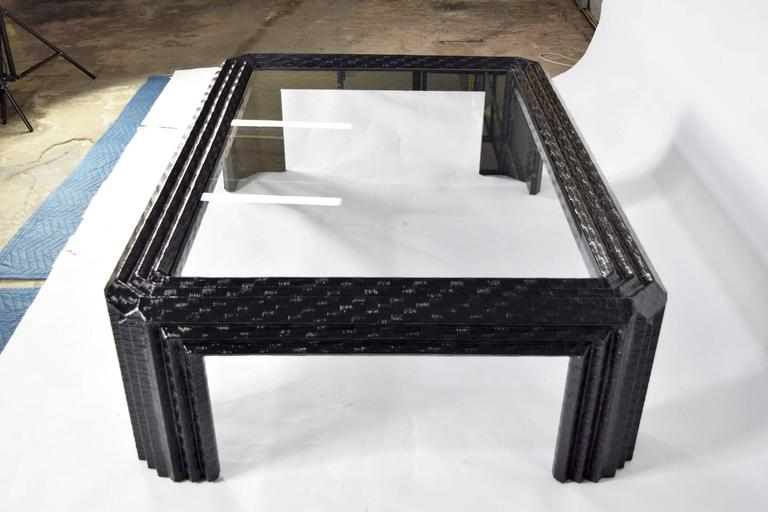 Baker Furniture Lacquered Grasscloth Coffee Table  3