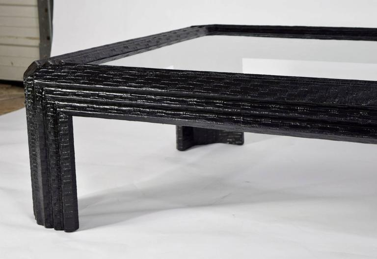 Baker Furniture Lacquered Grasscloth Coffee Table  4