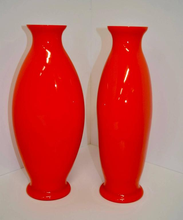 Pair of Brilliant Orange Glass Vases by La Murrina Murano ...
