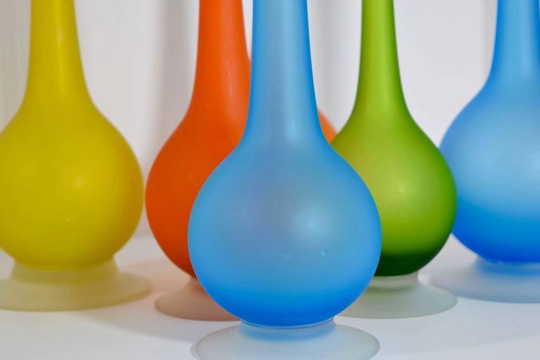 Carlo Moretti For Rosenthal Netter Satin Glass Pencil Vases At 1stdibs