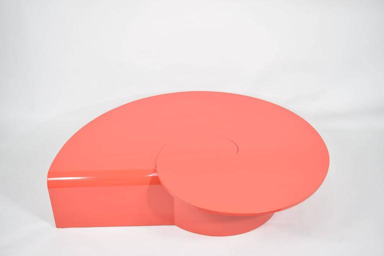 Fabulous Statement Coffee Table in Red/Orange Lacquer 4