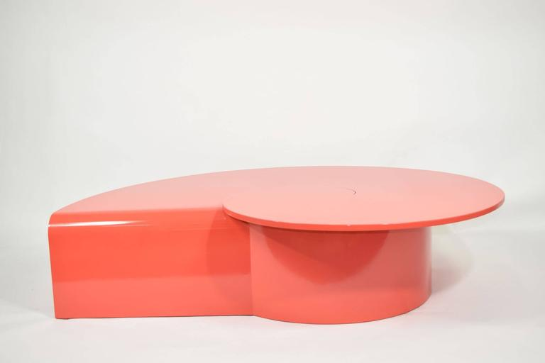 Wood Fabulous Statement Coffee Table in Red/Orange Lacquer For Sale
