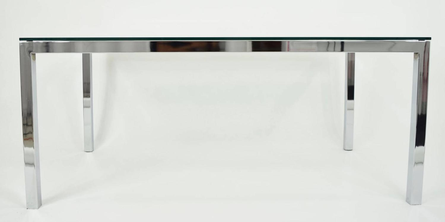 milo baughman chrome and glass dining table desk for sale at 1stdibs