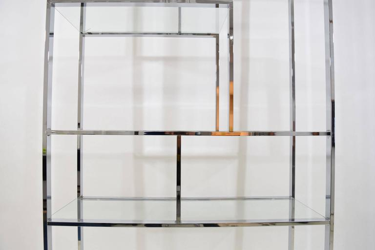 20th Century Milo Baughman Chrome and Glass Etagere For Sale