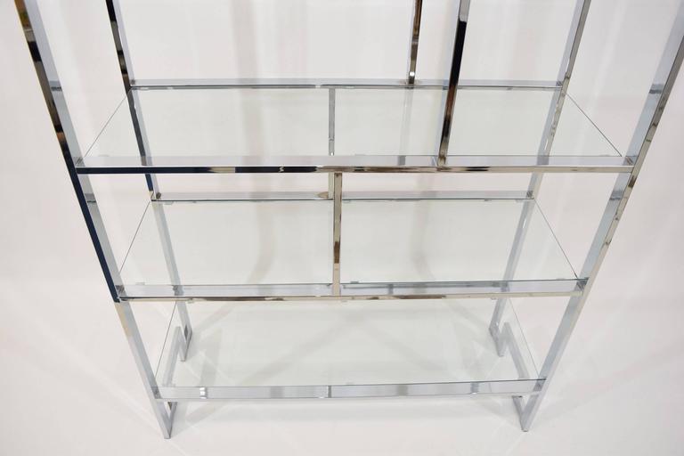 Milo Baughman Chrome and Glass Etagere For Sale 1