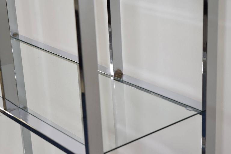 Milo Baughman Chrome and Glass Etagere For Sale 2