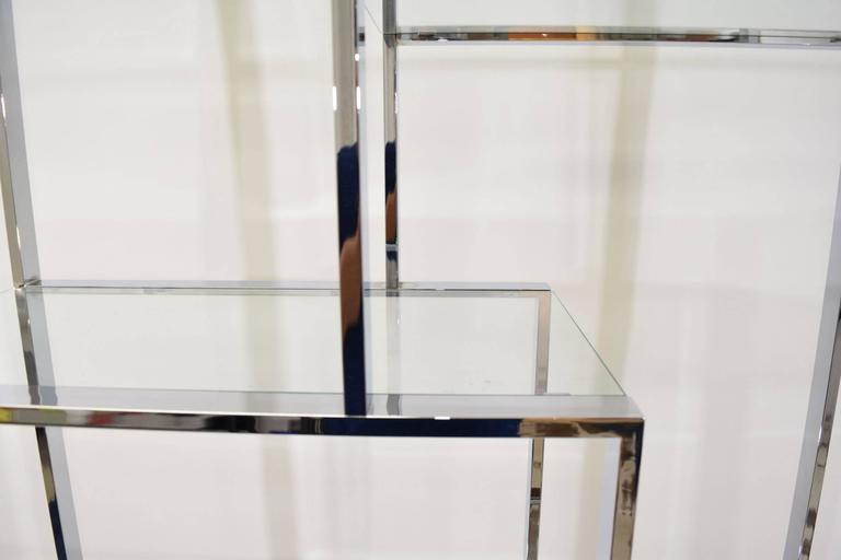 Milo Baughman Chrome and Glass Etagere For Sale 3