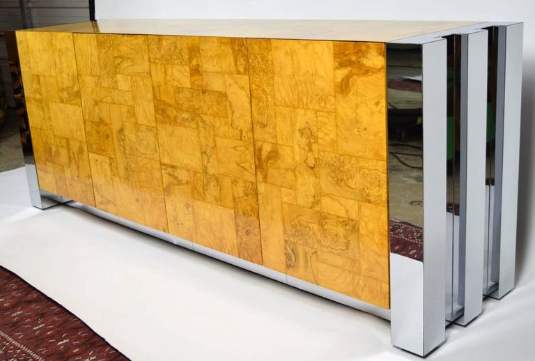 American Paul Evans Cityscape Console in Burl Wood and Chrome For Sale