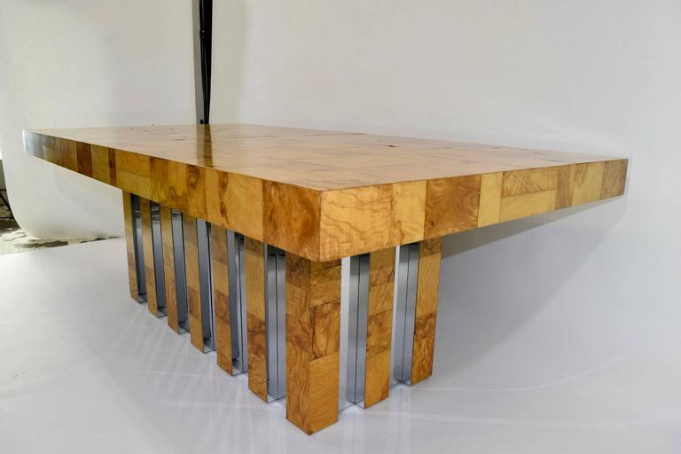 Mid-Century Modern Paul Evans Burl Wood and Chrome Cityscape Dining Table For Sale