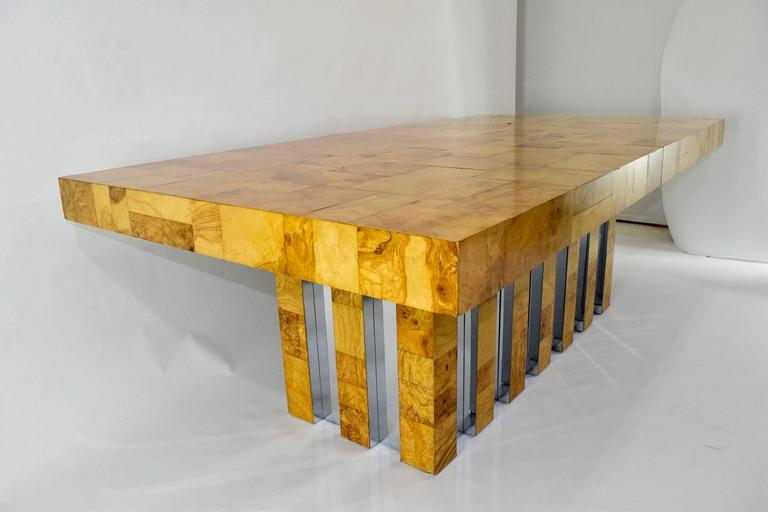 American Paul Evans Burl Wood and Chrome Cityscape Dining Table For Sale