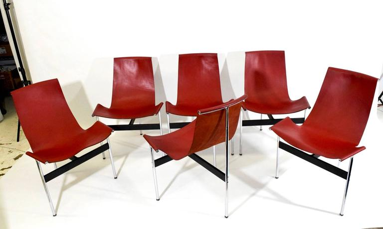 Set of six red leather T-chairs by Katavolos, Little and Kelly for Laverne International.