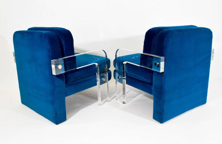 American Pair of Vladimir Kagan Lucite Lounge Chairs in Holly Hunt Upholstery