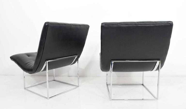 Faux Leather Pair of Milo Baughman for Thayer Coggin Lounge Chairs For Sale