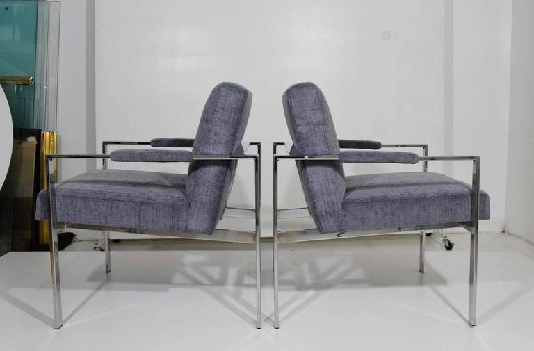 Pair of Milo Baughman Lounge Chairs in Holly Hunt Great Plains 2