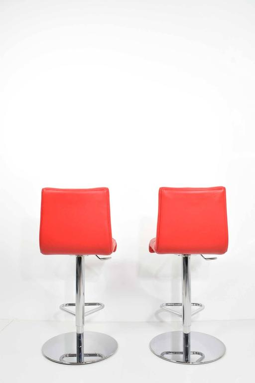 Pair Of Italian Made Red Leather Adjule Swivel Bar Stools In Excellent Condition For
