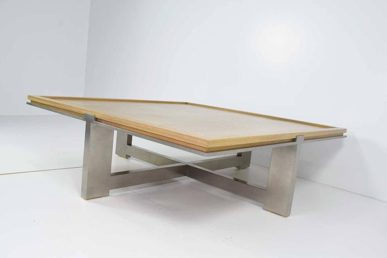 Modern Large Custom Wood and Metal Coffee Table For Sale