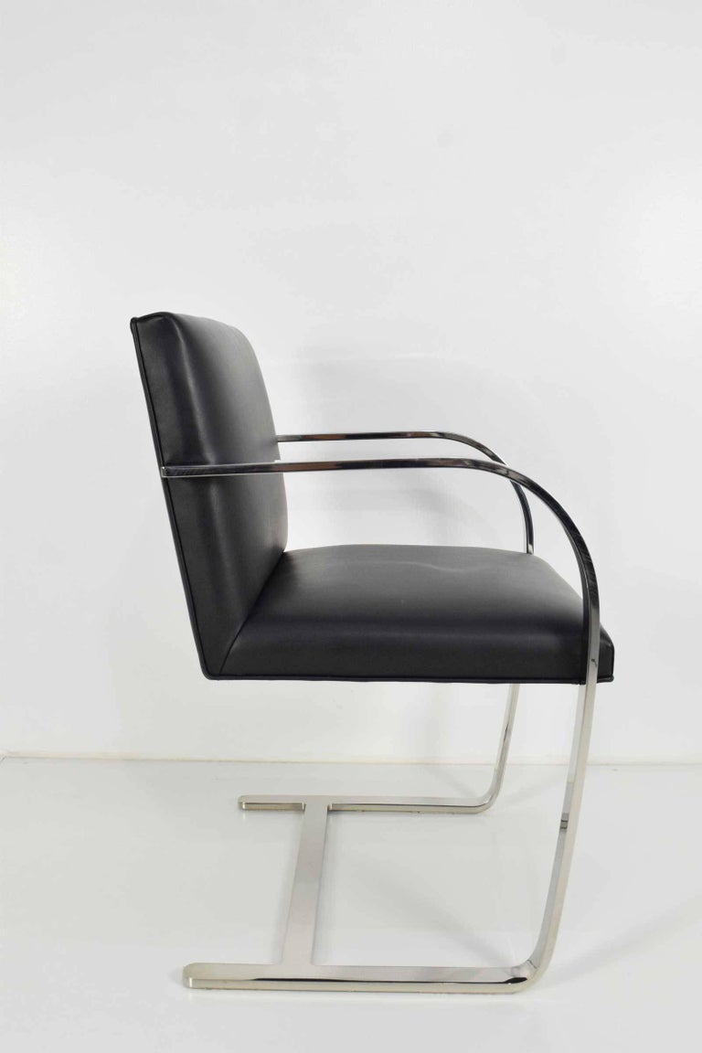 Stainless Steel Flat Bar Brno Chairs by Mies van der Rohe for Knoll For Sale