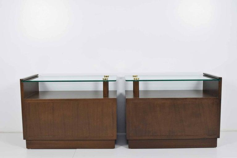 Brass Gilbert Rohde Nightstands For Sale