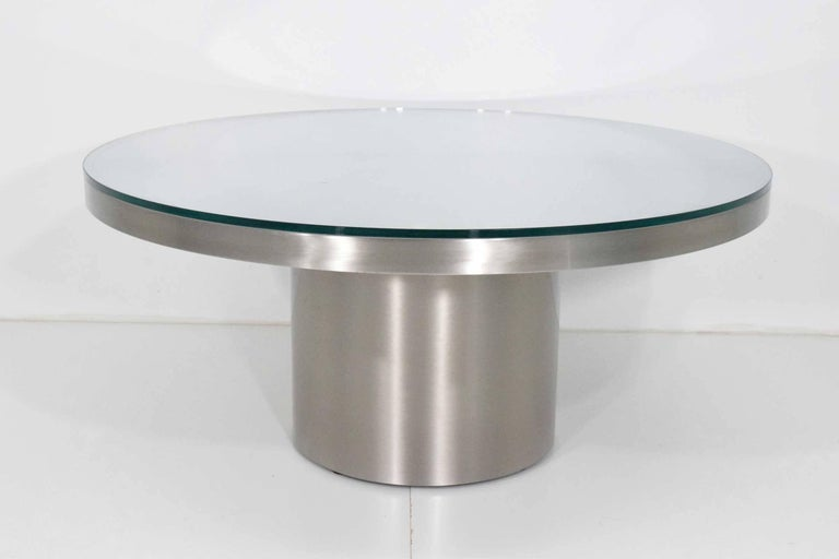 Modern Stainelss Steel Pedestal Base Coffee Table For Sale