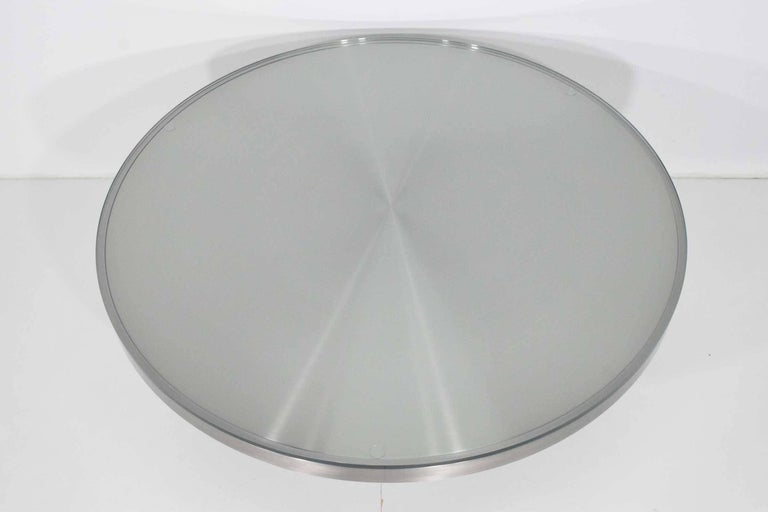 Stainelss Steel Pedestal Base Coffee Table For Sale 2