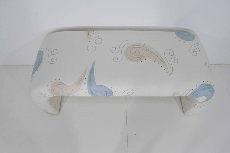Upholstered bench in a fun chintz fabric. Can be reupholstered if desired. Great for any room bedroom, girl's room, hallway.