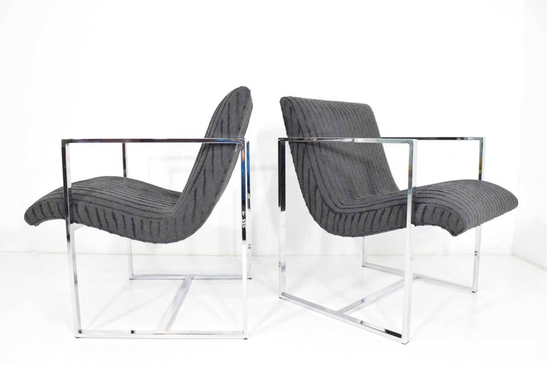 American Milo Baughman Scoop Lounge Chairs For Sale
