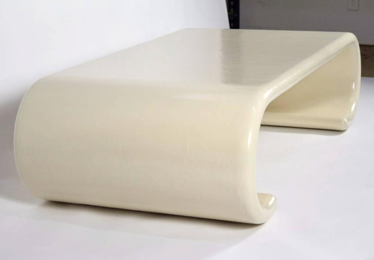 Mid Century Modern Scroll Karl Springer Style Coffee Table With New Lacquer  Finish For Sale