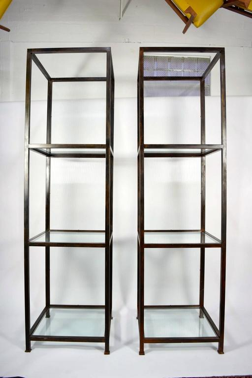 Pair of monumental custom etageres in glass and iron for sale at 1stdibs - Etagere cases carrees ...